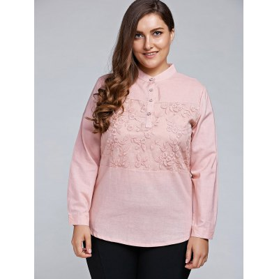 Plus Size Long Sleeve Embroidered Tulle Spliced Shirt