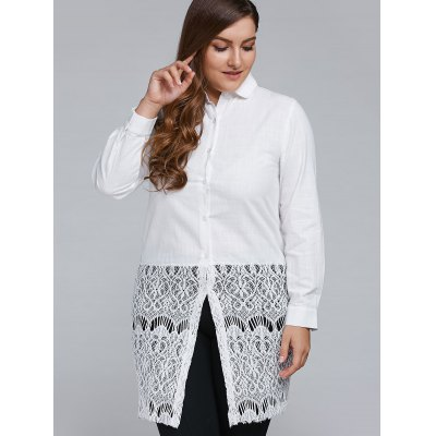 Plus Size Lace Crochet Trim Long Shirt