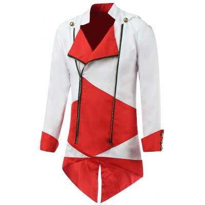 Hooded Color Block Splicing Long Sleeve Cosplay Jacket
