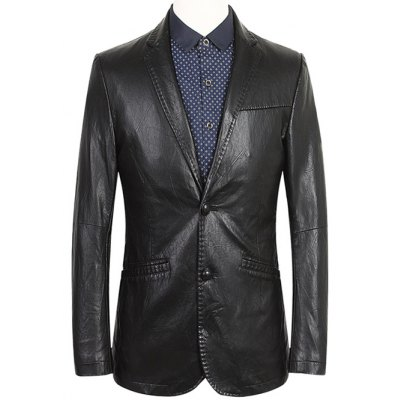 Notch Lapel Single Breasted Faux Leather Blazer