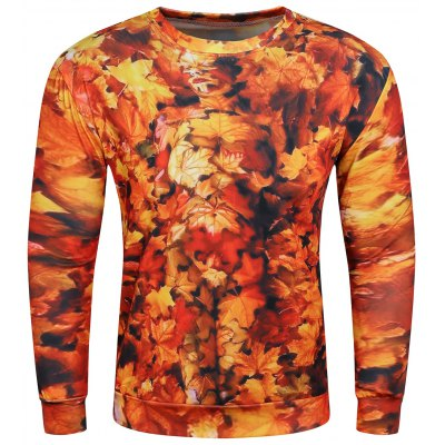 3D Maple Leaves Print Long Sleeve Sweatshirt