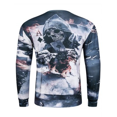 3D Devil Skeleton Poker A Print Long Sleeve Sweatshirt