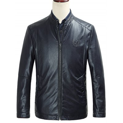 Embossed Zip Up PU Leather Jacket