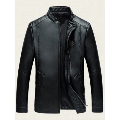 Embossed Stand Collar Zip Up PU Leather JacketMens Jackets &amp; Coats<br>Embossed Stand Collar Zip Up PU Leather Jacket<br><br>Clothes Type: Leather &amp; Suede<br>Style: Fashion<br>Material: Faux Leather,Polyester<br>Collar: Stand Collar<br>Clothing Length: Regular<br>Sleeve Length: Long Sleeves<br>Season: Fall,Spring<br>Weight: 0.700kg<br>Package Contents: 1 x Jacket