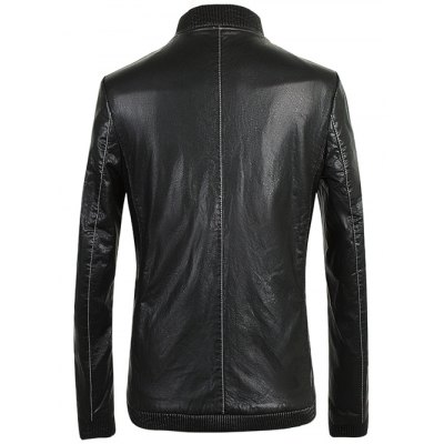 Ribbed Zippered Stand Collar PU Leather JacketMens Jackets &amp; Coats<br>Ribbed Zippered Stand Collar PU Leather Jacket<br><br>Clothes Type: Leather &amp; Suede<br>Style: Fashion<br>Material: Faux Leather,Polyester<br>Collar: Stand Collar<br>Clothing Length: Regular<br>Sleeve Length: Long Sleeves<br>Season: Fall,Spring<br>Weight: 0.700kg<br>Package Contents: 1 x Jacket