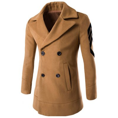 Lapel Double Breasted Patch Design Sleeve Coat