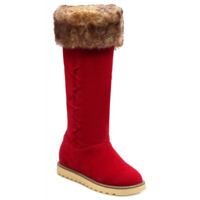 Faux Fur Suede Mid Calf Snow Boots