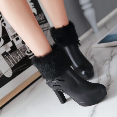 Bow Faux Fur Platform Ankle BootsWomens Boots<br>Bow Faux Fur Platform Ankle Boots<br><br>Gender: For Women<br>Boot Type: Fashion Boots<br>Boot Height: Ankle<br>Boot Tube Height: 12CM<br>Boot Tube Circumference: 28CM<br>Toe Shape: Round Toe<br>Heel Type: Chunky Heel<br>Heel Height Range: High(3-3.99)<br>Closure Type: Zip<br>Shoe Width: Medium(B/M)<br>Pattern Type: Solid<br>Embellishment: Fur<br>Upper Material: PU<br>Weight: 1.120kg<br>Season: Winter<br>Platform Height: 2CM<br>Heel Height: 9.5CM<br>Package Contents: 1 x Boots (pair)