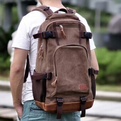 Splicing Zippers Canvas Backpack