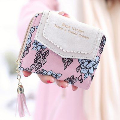 Floral Printed Tassels Small Wallet