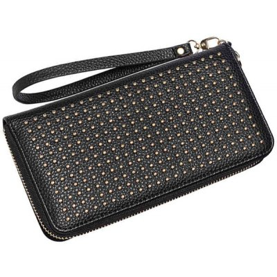Rivet Studs Zip Around Wristlet Wallet