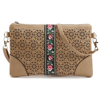 PU Leather Floral Cut Out Crossbody Bag