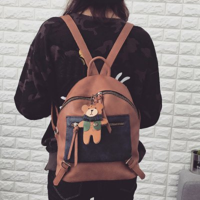 Color Block Bear Pandent Backpack