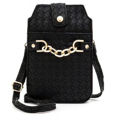 Magnetic Closure Woven Pattern Chain Crossbody Bag