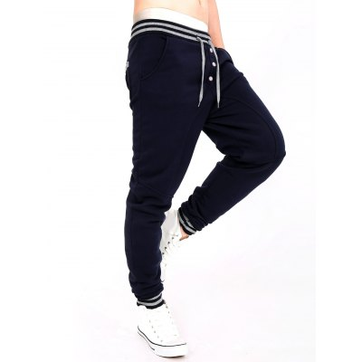 Stripe Splicing Single-Breasted Jogger Pants