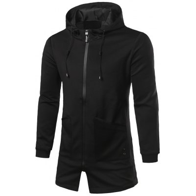 Hooded Zip Up Pocket Patched Longline Coat