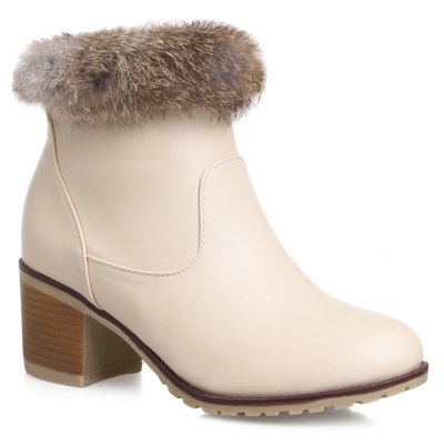 Faux Fur PU Leather Ankle Boots