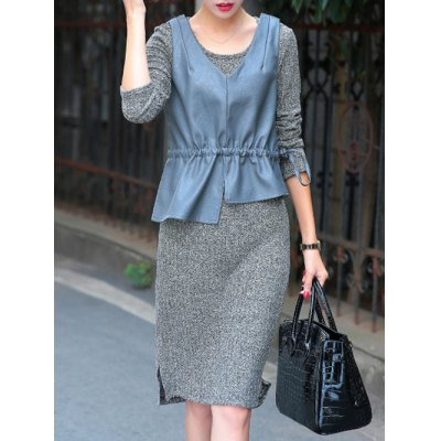 Long Sleeve Sweater Dress With Ruffles PU Tank Top
