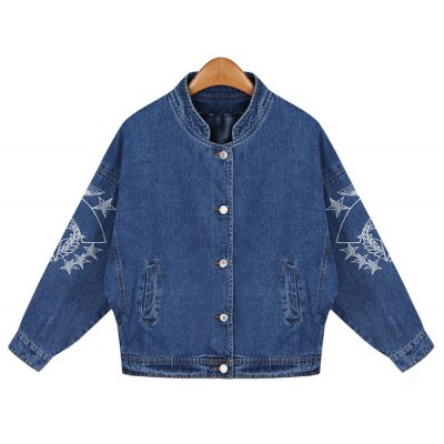 Embroidered Buttons Denim Jacket