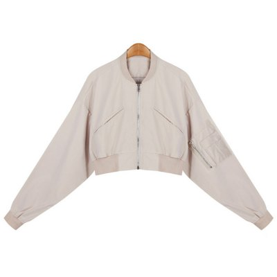 Letter Embroidery Zip-Up Bomber Jacket
