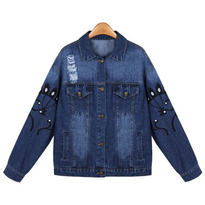 Ripped Embroidered Denim Jacket