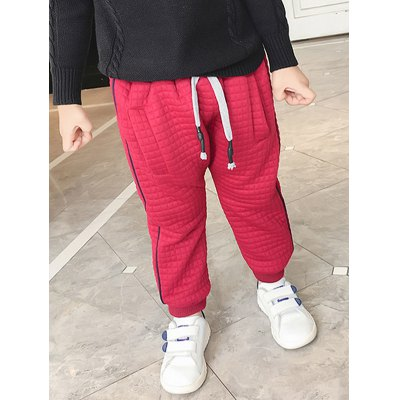 Casual Kids Drawstring Thicken Padded Pants