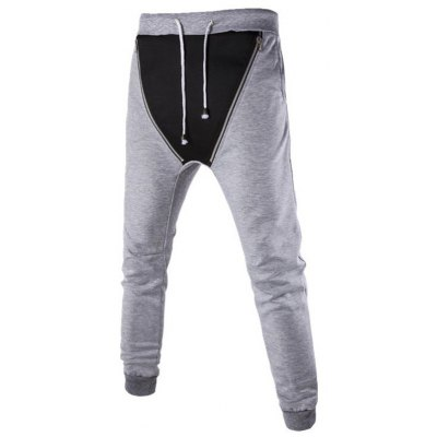 Zipper Embellished Lace-Up Beam Feet Jogger Pants
