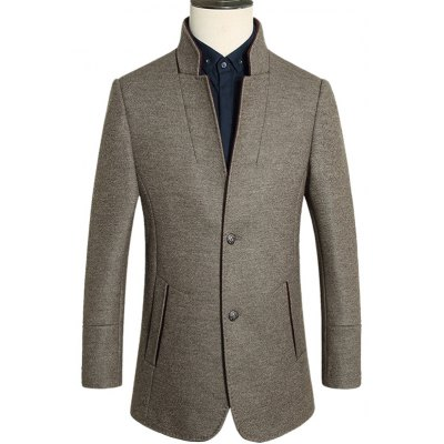 Sleeve Buttons Stand Collar Single Breasted Blazer