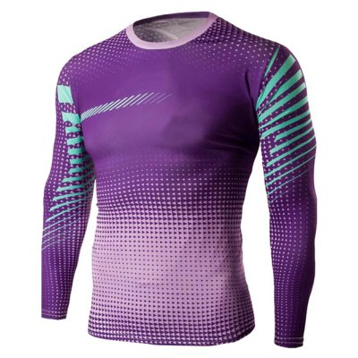 Slim-Fit Quick-Dry Long Sleeve Ombre T-Shirt