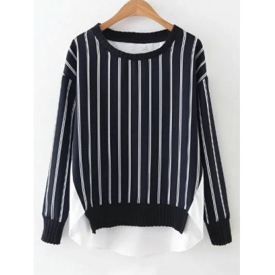 Round Neck High Low Stripes Spliced Blouse