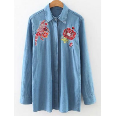 Embroidery Loose Denim Shirt