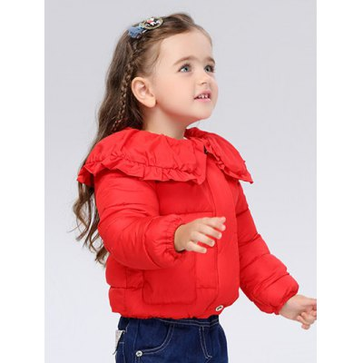 Cover Buttoned Peter Pan Collar Padded JacketGirls Clothing<br>Cover Buttoned Peter Pan Collar Padded Jacket<br><br>Clothes Type: Padded<br>Material: Down<br>Type: Wide-waisted<br>Clothing Length: Regular<br>Sleeve Length: Full<br>Collar: Peter Pan Collar<br>Closure Type: Covered Button<br>Pattern Type: Solid<br>Embellishment: Pockets<br>Style: Casual<br>With Belt: No<br>Weight: 0.578kg<br>Package Contents: 1 x Jacket