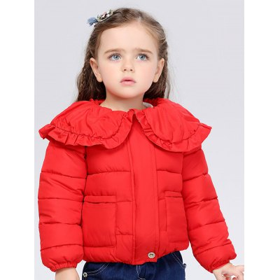 Cover Buttoned Peter Pan Collar Padded Jacket