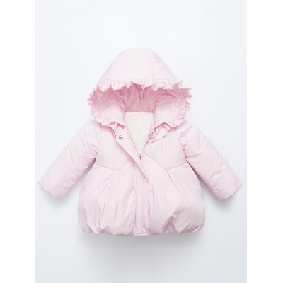 Baby Flounce Ruched Hooded Padded Puffer Jacket