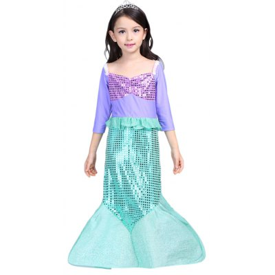 Long Sleeve Flounced Sequins Mermaid Dress