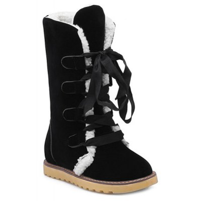 Suede Lace Up Snow Boots