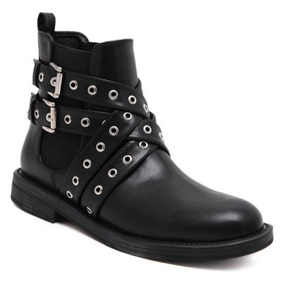 Eyelets Cross Straps Ankle Boots