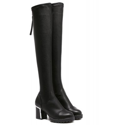 PU Leather Zip Thigh Boots