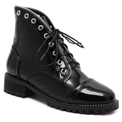 Eyelets Tie Up Ankle Boots