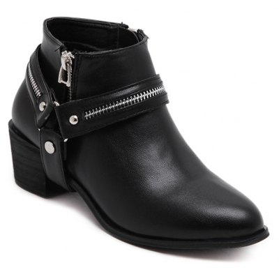 Zip Metal Ankle Boots