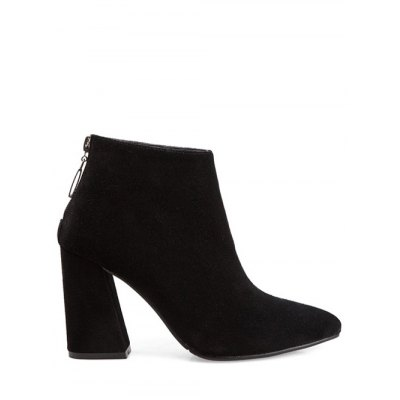 Concise Pointed Toe Chunky Heel Ankel Boots