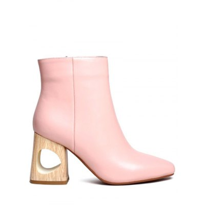 Square Toe Chunky Heel Leather Boots