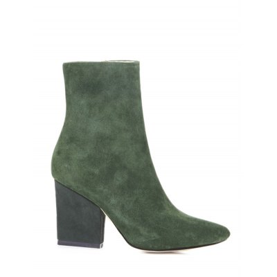 Pointed Toe Chunky Heel Short Boots