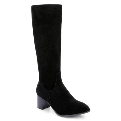 Pointed Toe Suede Zip Boots