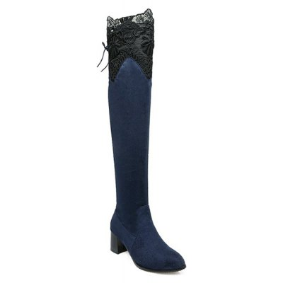Lace Spliced Chunky Heel Pointed Toe Thigh Boots