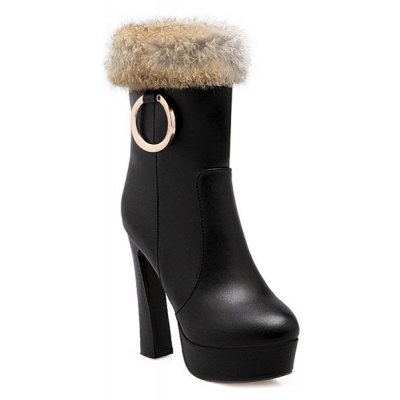 Faux Fur Chunky Heel Boots
