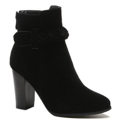 Weave Chunky Heel Ankle Boots
