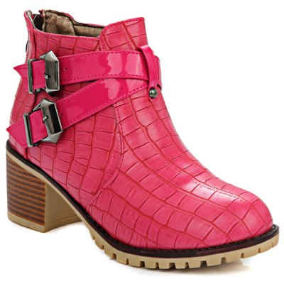 Plaid Pattern Double Buckle Ankle Boots