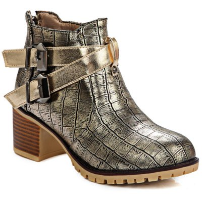 Embossed Plaid Pattern Double Buckle Ankle Boots