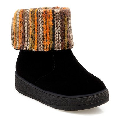 PU Leather Knitting Round Toe Snow Boots